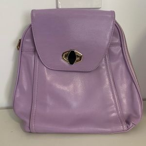 Purple Faux Leather Backpack with Modern Clasp